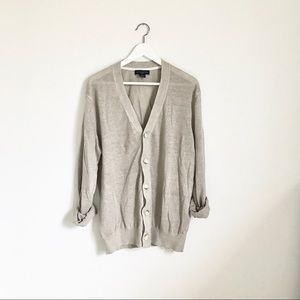 Banana Republic Light Gray Linen Cardigan Sweater