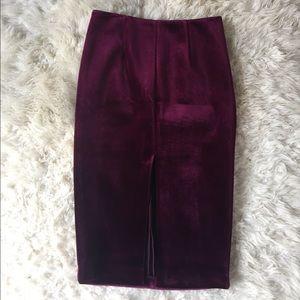 Asos Oxblood Velvet Midi Skirt w/ Front Slit