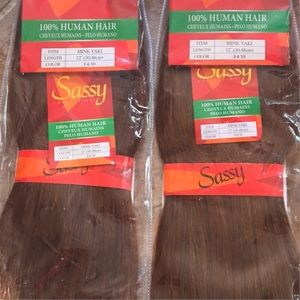 "NWT Medium Brown Chestnut Human Hair Wefts 12"""