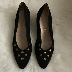 Chanel Suede Black and Gold Pumps