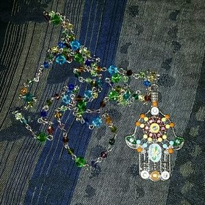 Jewelry - Hamsa hand crystals chain lucky long necklace