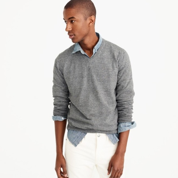 J. Crew Other - J.Crew Gray V-Neck Cotton Cashmere Sweater Large