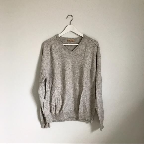 J. Crew Sweaters - J.Crew Gray V-Neck Cotton Cashmere Sweater Large