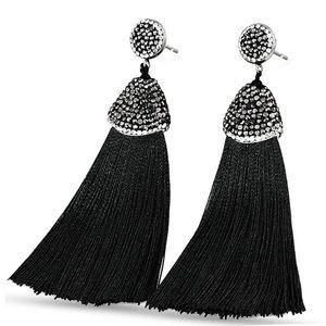 Bohemia Crystal Silk Tassel Earrings