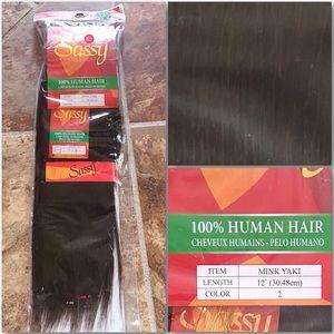 "Sassy Dark Brown 100% Human Hair Wefts 12"" Length"