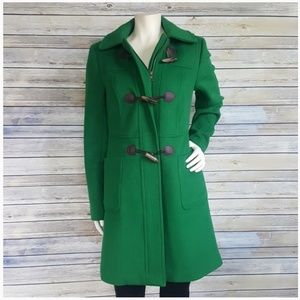 Talbots Green Hooded Wool Toggle Button Coat Sz 2