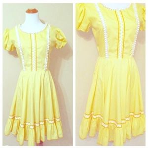 Vintage Yellow Cotton Dress, Western Cowgirl, S