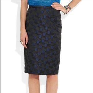 J. Crew Skirts - J.Crew The Pencil Skirt Black Blue Polka Dot Skirt