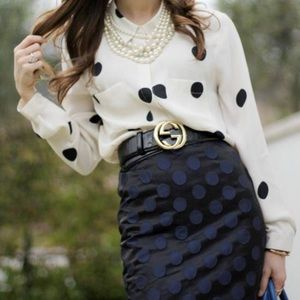 J.Crew The Pencil Skirt Black Blue Polka Dot Skirt