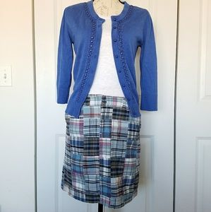 Merona Blue Patchwork Plaid Madras Skirt