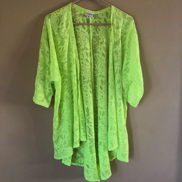 lularoe swim neon green lace lindsay cover up poshmark