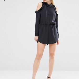ASOS petite cold shoulder romper with ruffles