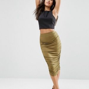 ASOS pencil skirt ruched sides.