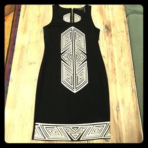 THML Black & Cream Dress w  Embroidered Detail