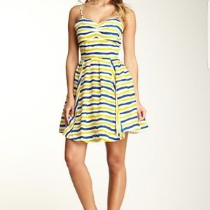 Jack Blue Watercolor Stripe Tank Dress Size S