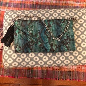 Mossimo green faux snakeskin clutch