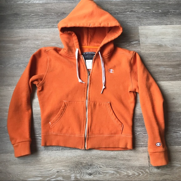 4327a2a364794 Champion Tops - Vintage Champion Cropped Orange Hoodie