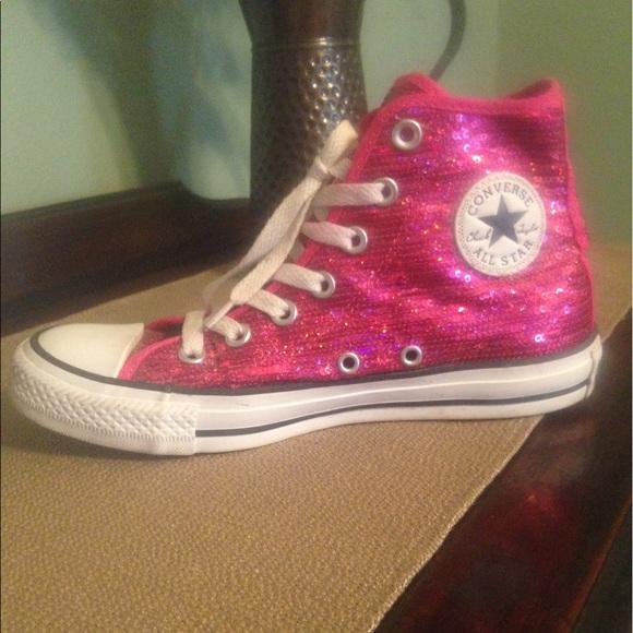 83aa56fd6779 Converse Shoes - Hot pink sequin high top converse