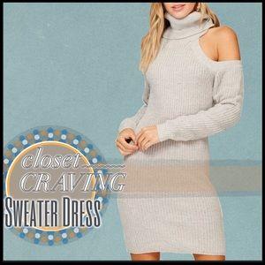 Cold Shoulder Knit Sweater Dress