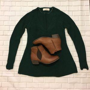Zara Knit Evergreen V-Neck Sweater