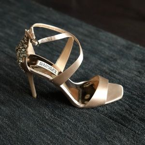 Satin Nude Sandals with Embellished Heel