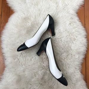 FERRAGAMO Black White Leather Vintage Heels Sz 8