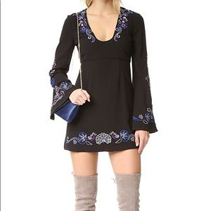 Free People Embroidered Bell Sleeve Dress
