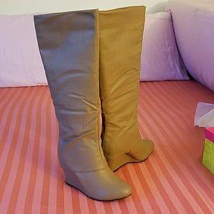 Brand New Knee Beige Wedge Boots