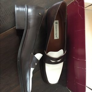 Brown & White Spectator Loafers