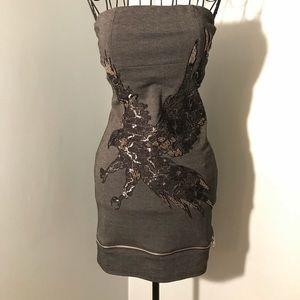 Gray, strapless mini dress by Nikibiki! Size small