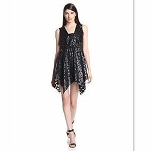 Anna Sui Laser Cut Applique Mesh Leather Dress