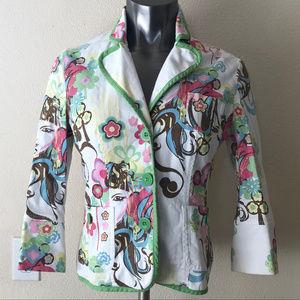 BISOU BISOU Print Button Front Jacket