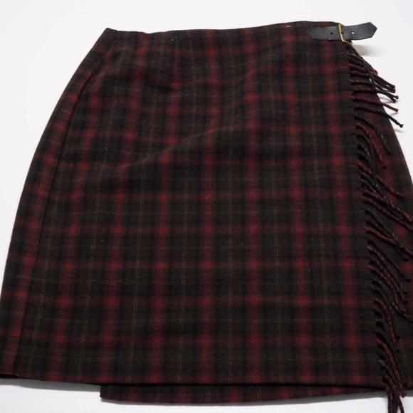 d48d8cb5f1 Eddie Bauer Dresses & Skirts - Eddie Bauer Plaid Wrap Skirt Size 8 Wool  Blend