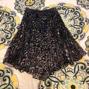 Liquorish Black and Metallic Lace Skirt