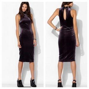 NWT Urban Outfitters velvet mock neck column dress