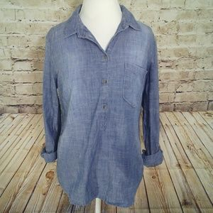 Denim Chambray Size Large Tunic Pullover