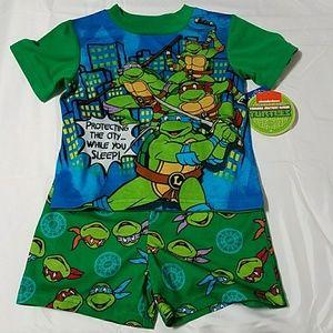 Gift Idea NWT Teenage Mutant Ninja Turtles Green Fleece Pajama Set 2t 3T 4T 5T