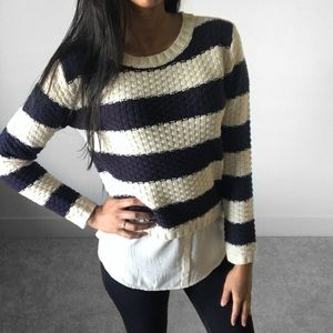 MONTEAU | Preppy Striped Sweater Top