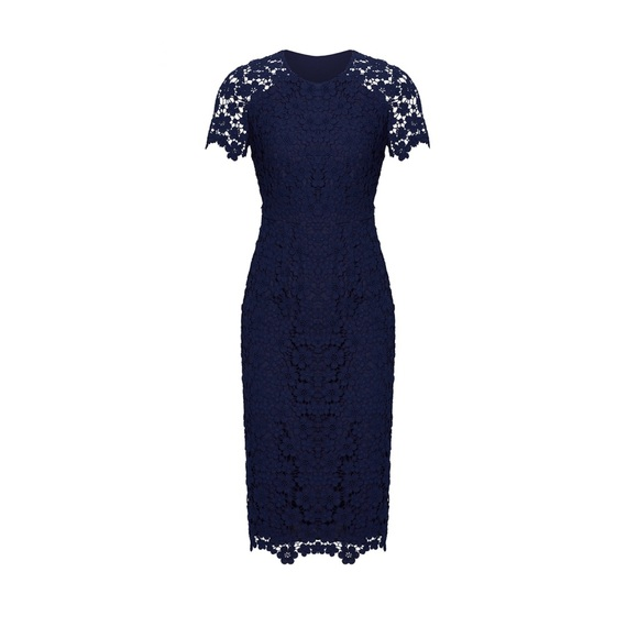 7bbc90efa5a Shoshanna Beaux Guipure Navy Lace Sheath Dress