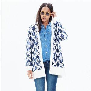 Madewell Contrast Fair Isle Cardigan Sweater