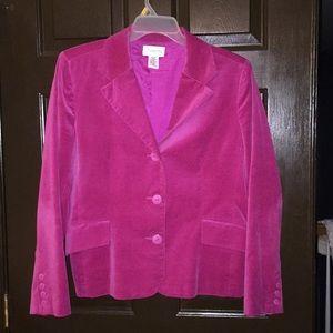 Cotton velvet 3 button blazer