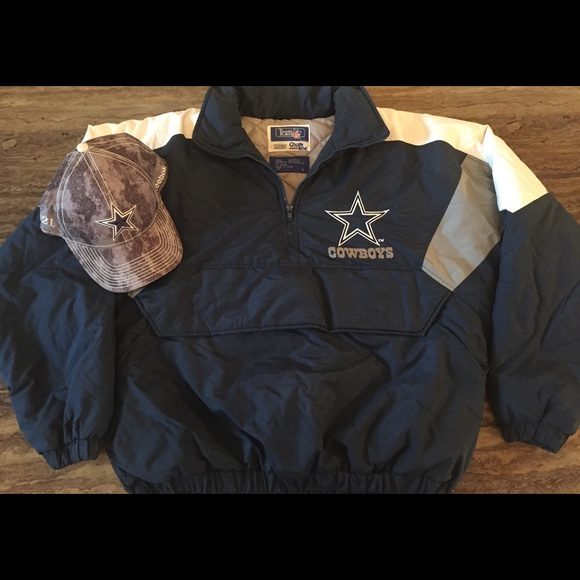 b55a8562 COWBOYS TEAM NFL HALF ZIP QUILTED JACKET SIZE L