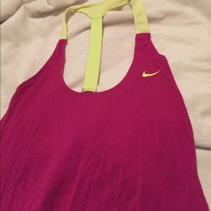 Nike yellow and pink t-back tank