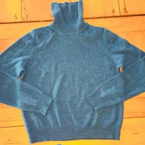 VALERIE STEVENS 100% 2 ply cashmere teal sweater