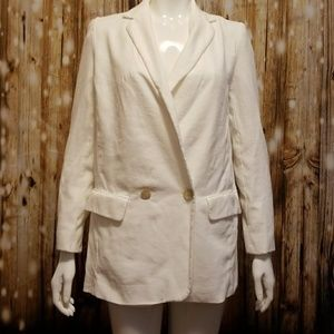 ZARA Basic oversized white blazer