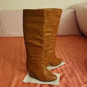 Brown Knee High Wedge Boots