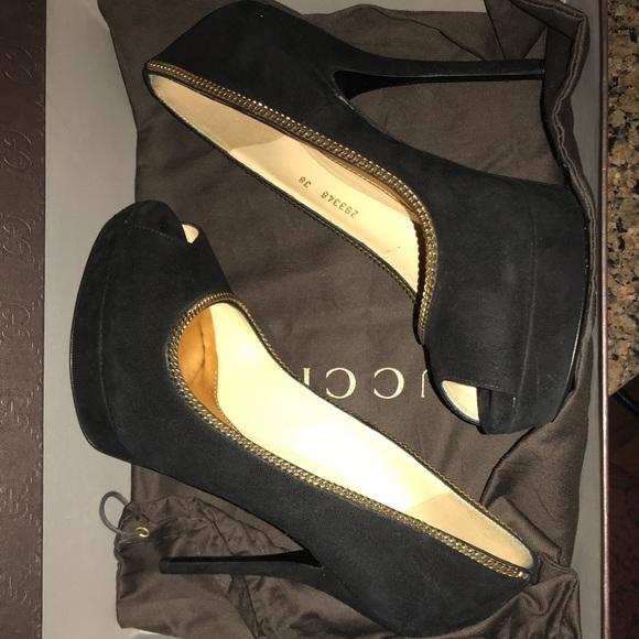 16c6034c029 Gucci 38/8 black suede with gold trim stilleto