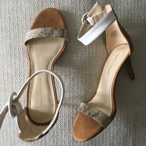 New Marc Fisher ankle strap snake stiletto, 6.5