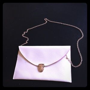 Handbags - Cream Snap Clutch with chain