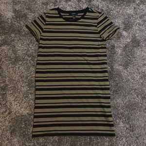 Green and Black Striped T-Shirt Dress